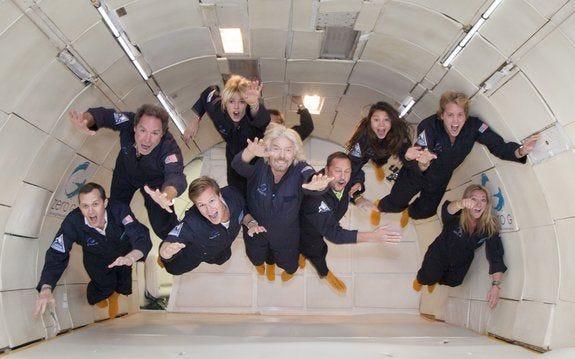 Virgin Galactic's Billionaire Founder Sir Richard Branson Takes Zero-G  Flight