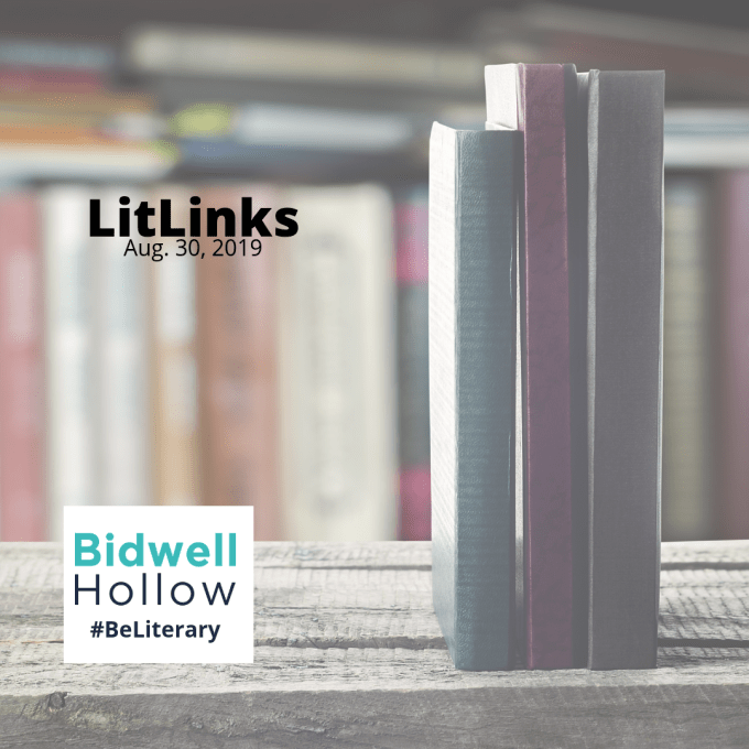 Books standing on a wooden table next to the Bidwell Hollow logo and the words, LitLinks, Aug. 30, 2019, #BeLiterary.