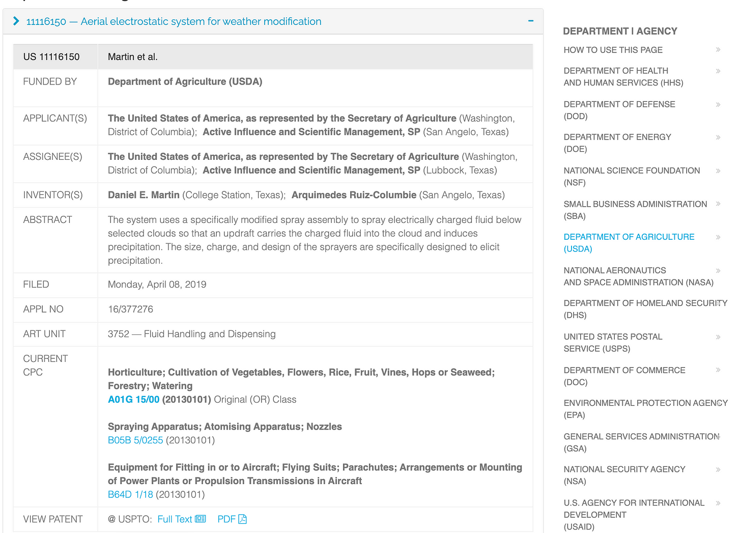 Screenshot of the FedInvent Details page expanded.