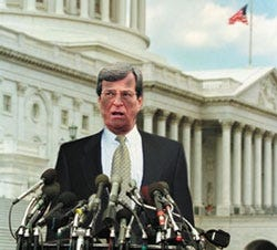 Senate majority foreman Trent Lott (R-MS) talks to reporters shortly after the mine collapse.