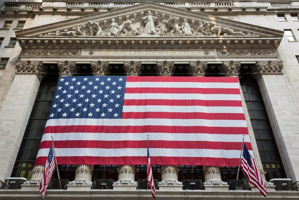 Image result for american flag wall street