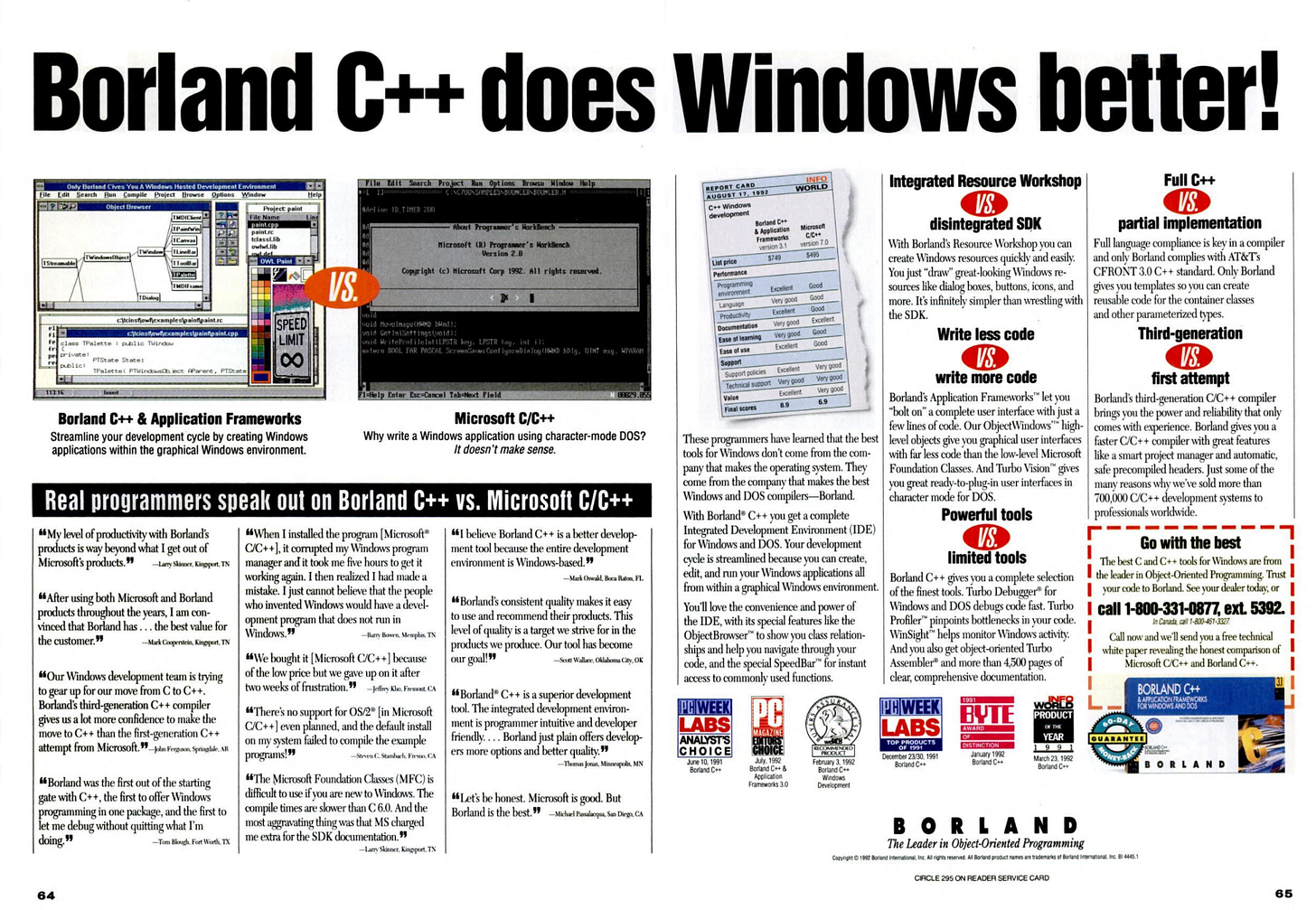 Two page advertisement: Borland C++ does Windows better.