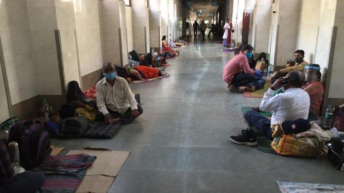 The corridor of the Covid-19 Ward 2 at the government-run Swaroop Rani Nehru Hospital, Prayagraj's largest district hospital   Photo: Moushumi Das Gupta/ThePrint