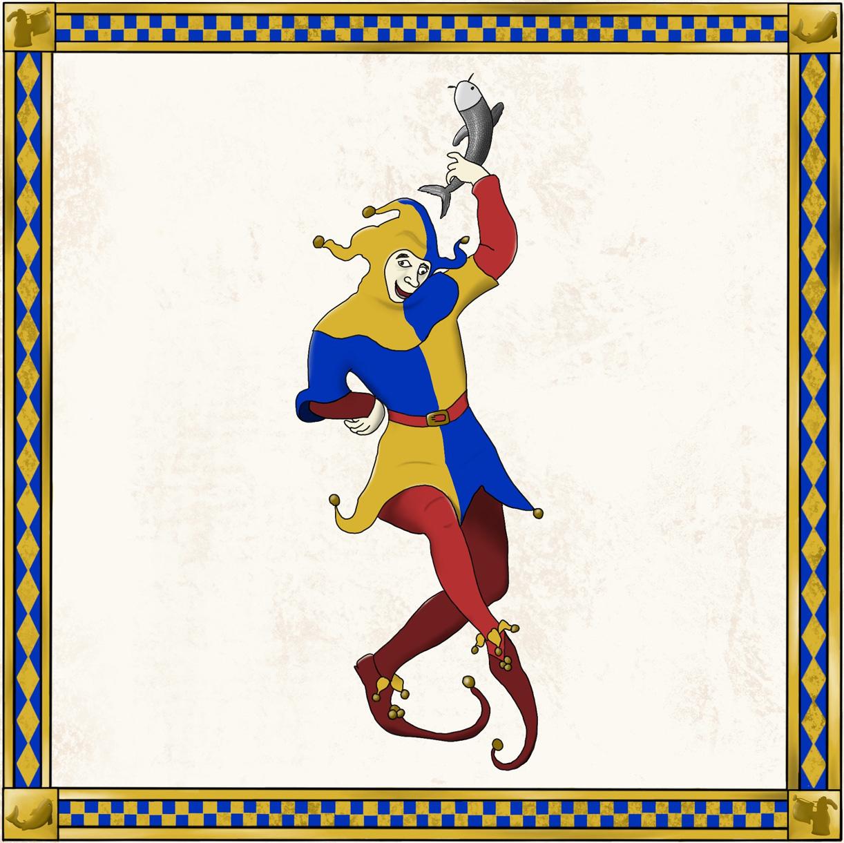 court jester throwing a fish around