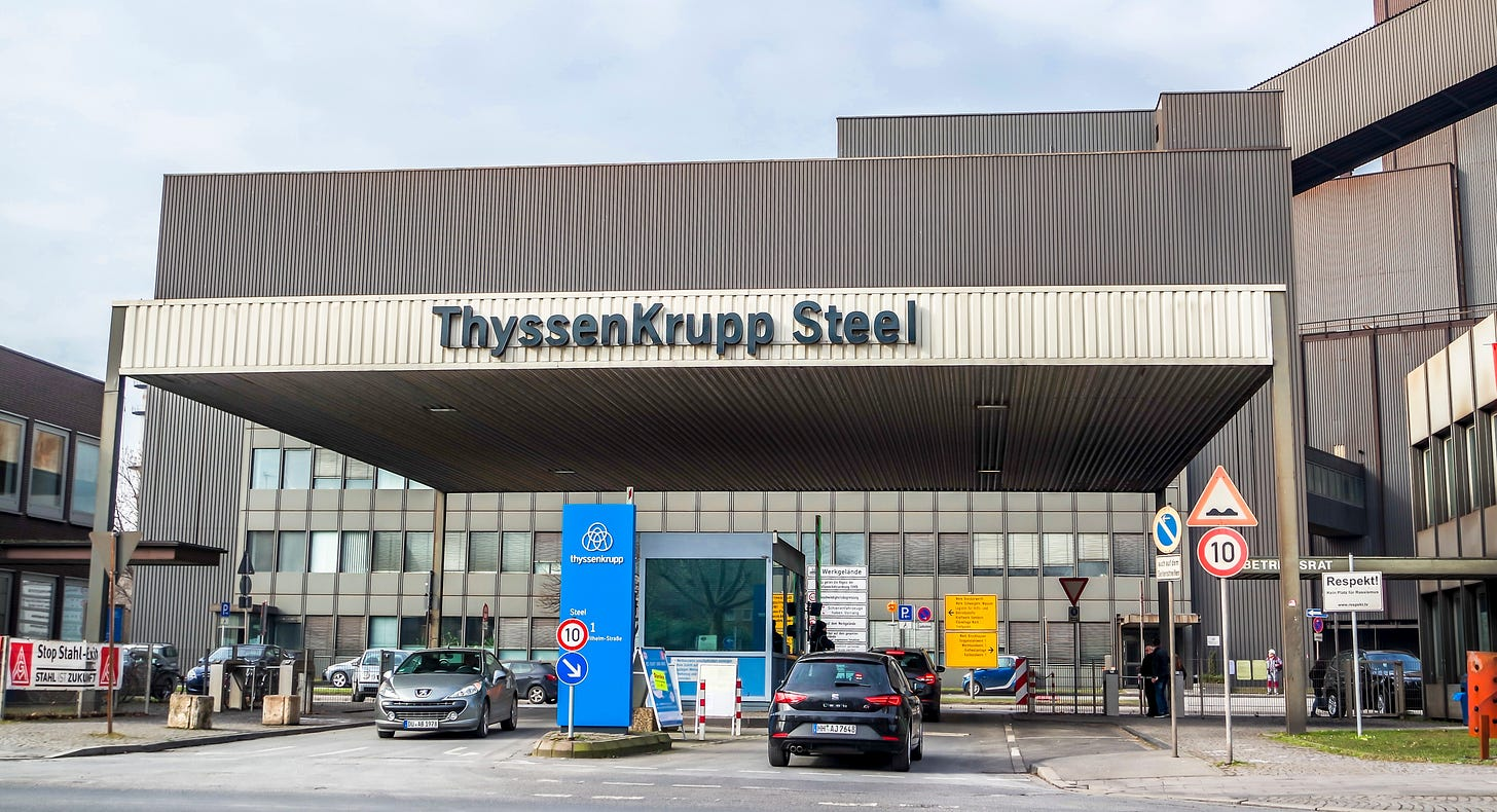 The ThyssenKrupp plant entrance in Duisburg Marxloh