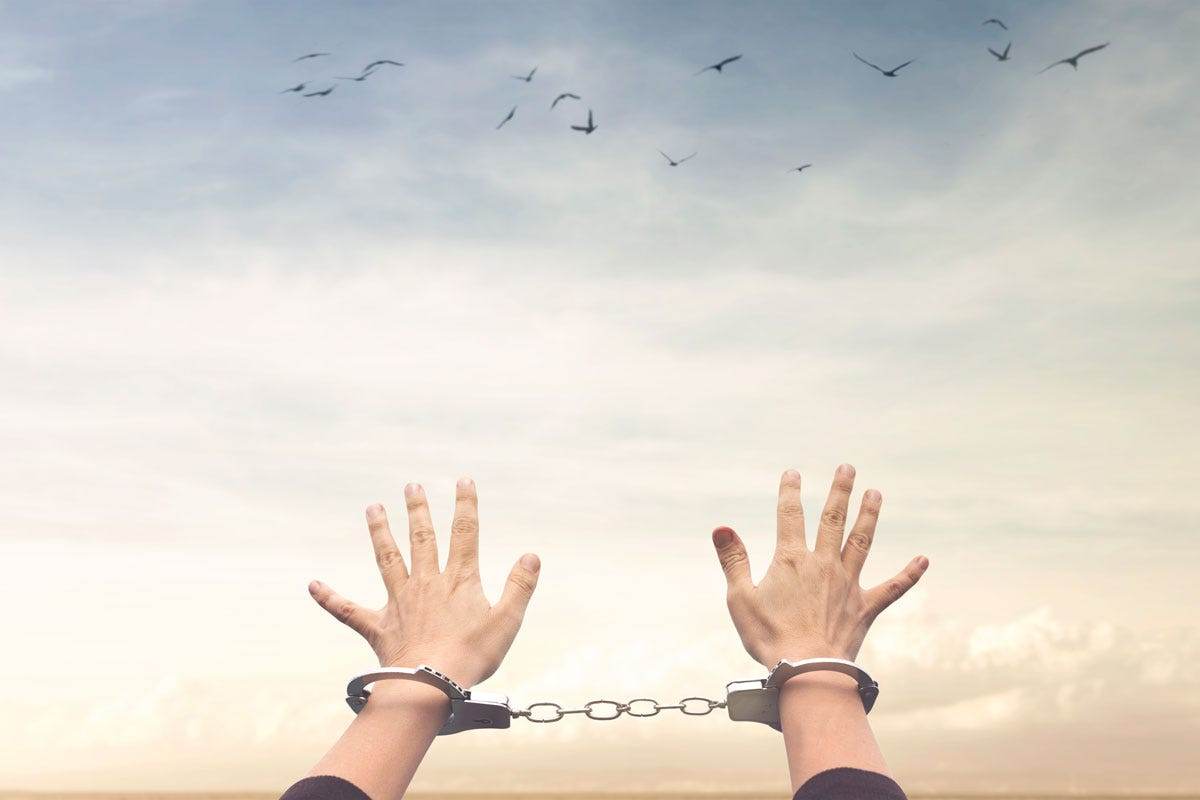 Handcuffed Person Reaching Toward Sky Filled with Birds