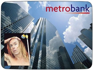 A scene from the new Metrobank ad, which features a song by longtime heroin addict Iggy Pop (inset).