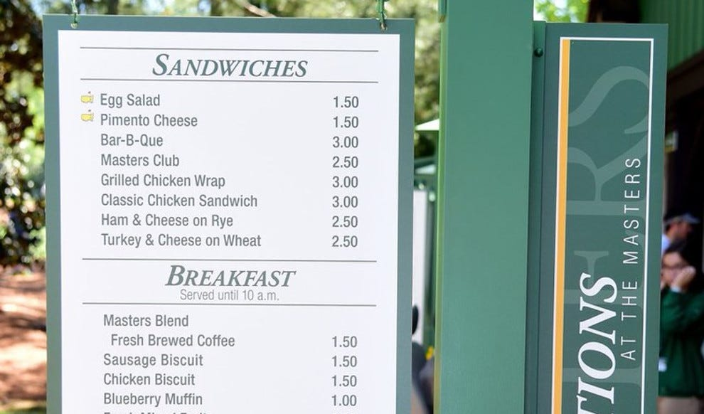 2018 Masters concessions menu: Food choices and food prices at Augusta  National