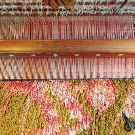 a view of a rya in progress on the loom