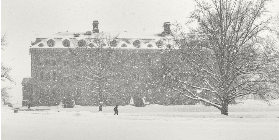 Photo of cornell university in the snow. blizzard conditions.