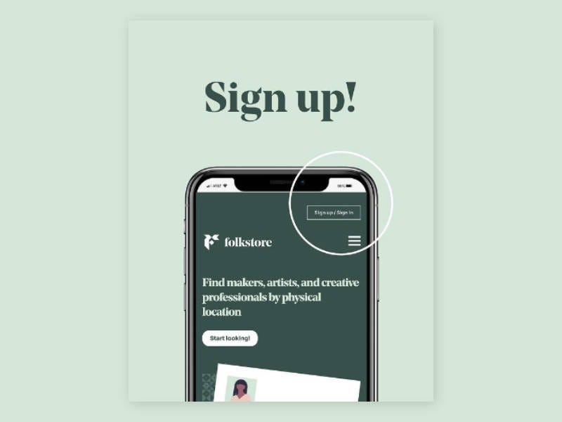Instagram post showing signup button