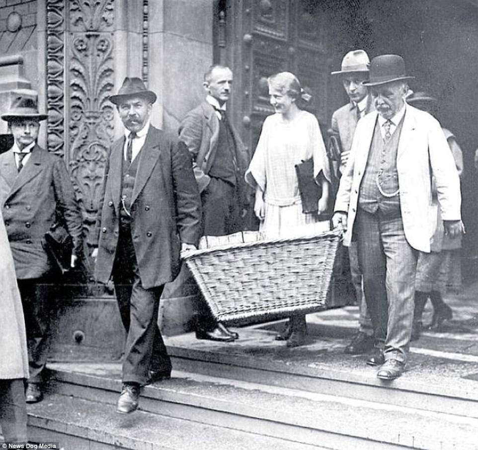 Pictured: Men carry their cash in baskets in 1923. The world didn't quite learn its lesson from Germany's experience of hyperinflation, however. After the Second World War, the Hungarianpengő suffered from the worst case of hyperinflation ever recorded. In Zimbabwe in 2008, meanwhile, inflation reach 79.6 billion per cent