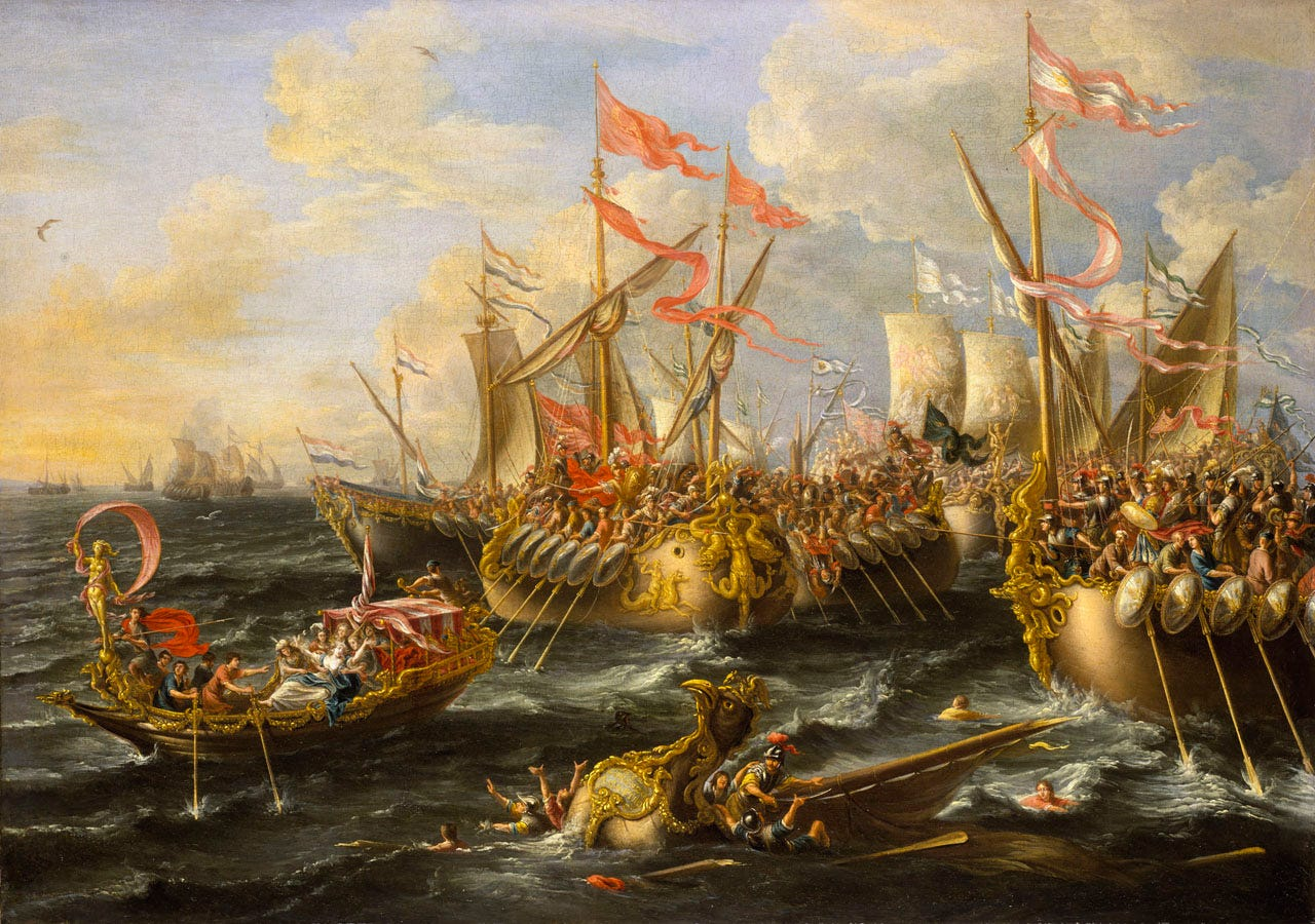 Painting of Roman warships attacking each other at the Battle of Actium in 31 B.C.
