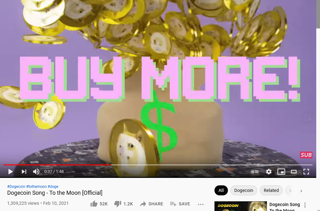 """A screenshot of the """"Dogecoin Song"""" video, paused on a bag of gold overspilling with the text """"BUY MORE"""""""
