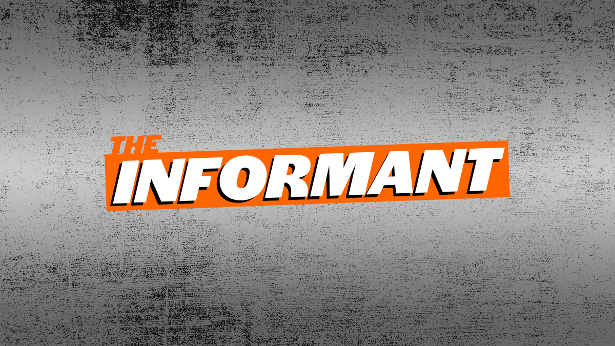 The Informant logo in orange and white on top of a background of gray and black