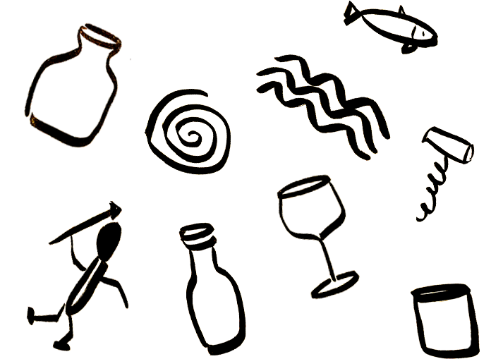 A doodle of a faux cave painting that includes a corkscrew and a wine bottle
