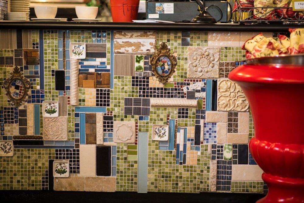 Details in tiling at Amélie's Bakery in Atlanta.