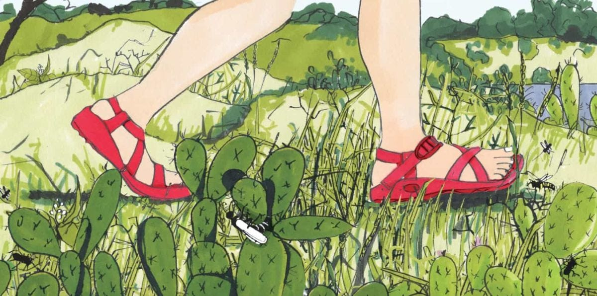 illustration of person hiking in sandals