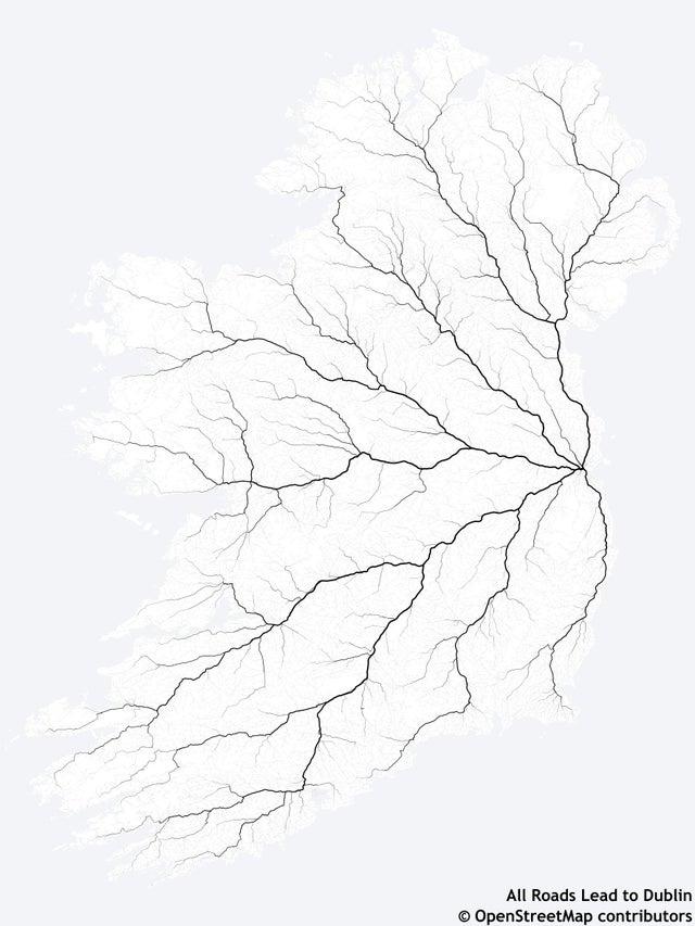 r/dataisbeautiful - Every Road to Dublin, Ireland [OC]