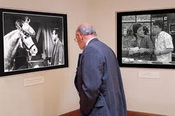 Man looking at photographs in a museum.