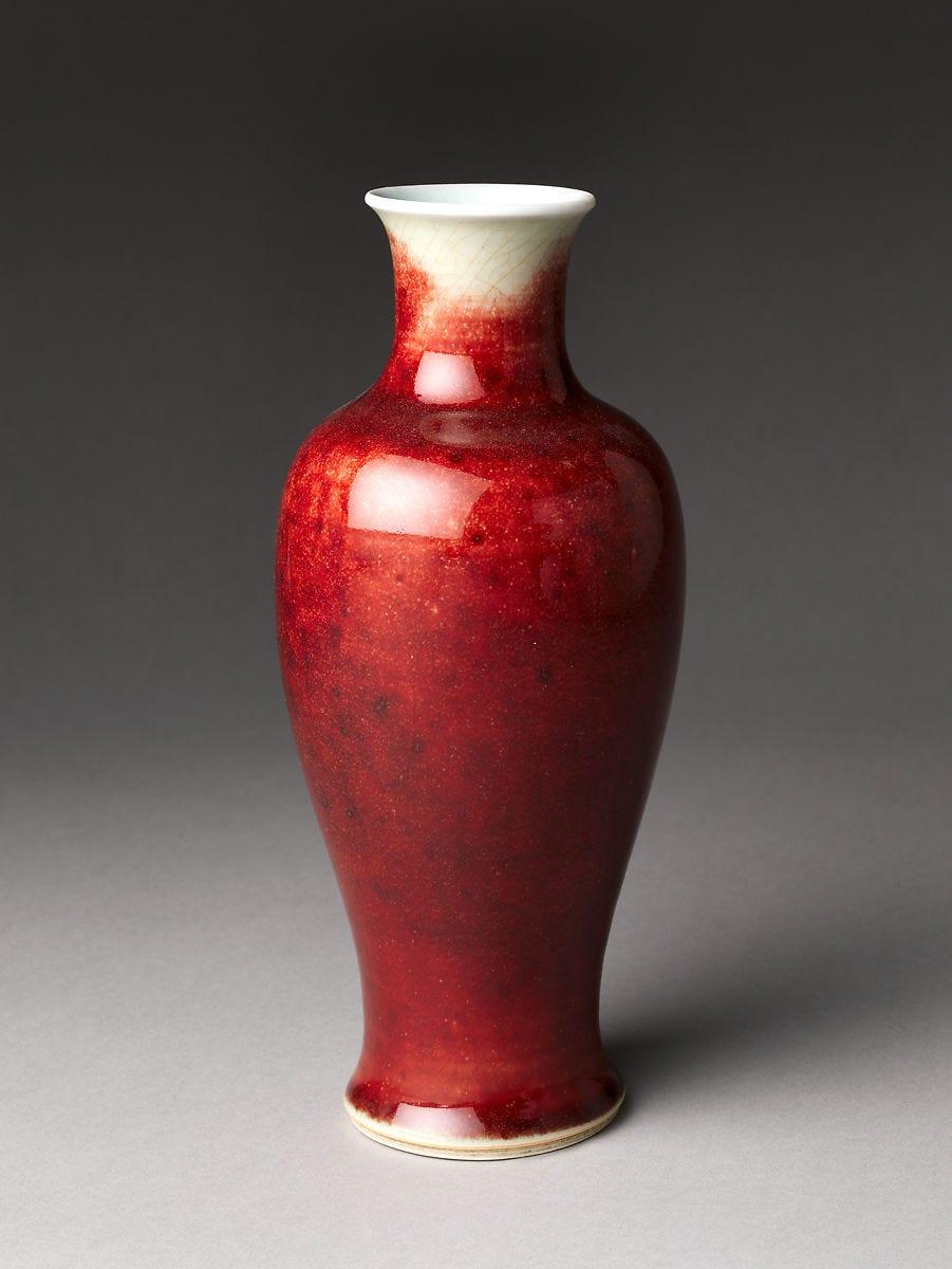 Vase, Porcelain with ox-blood glaze (Jingdezhen ware), China