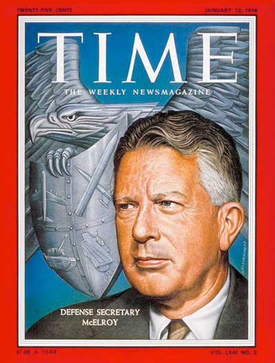 Time Magazine cover with Defense Secretary McElroy