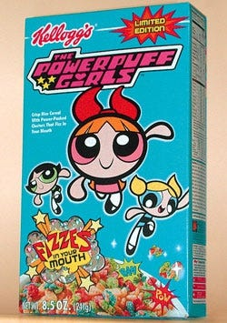 A limited-edition box of Powerpuff Girls cereal, available in supermarkets nationwide.