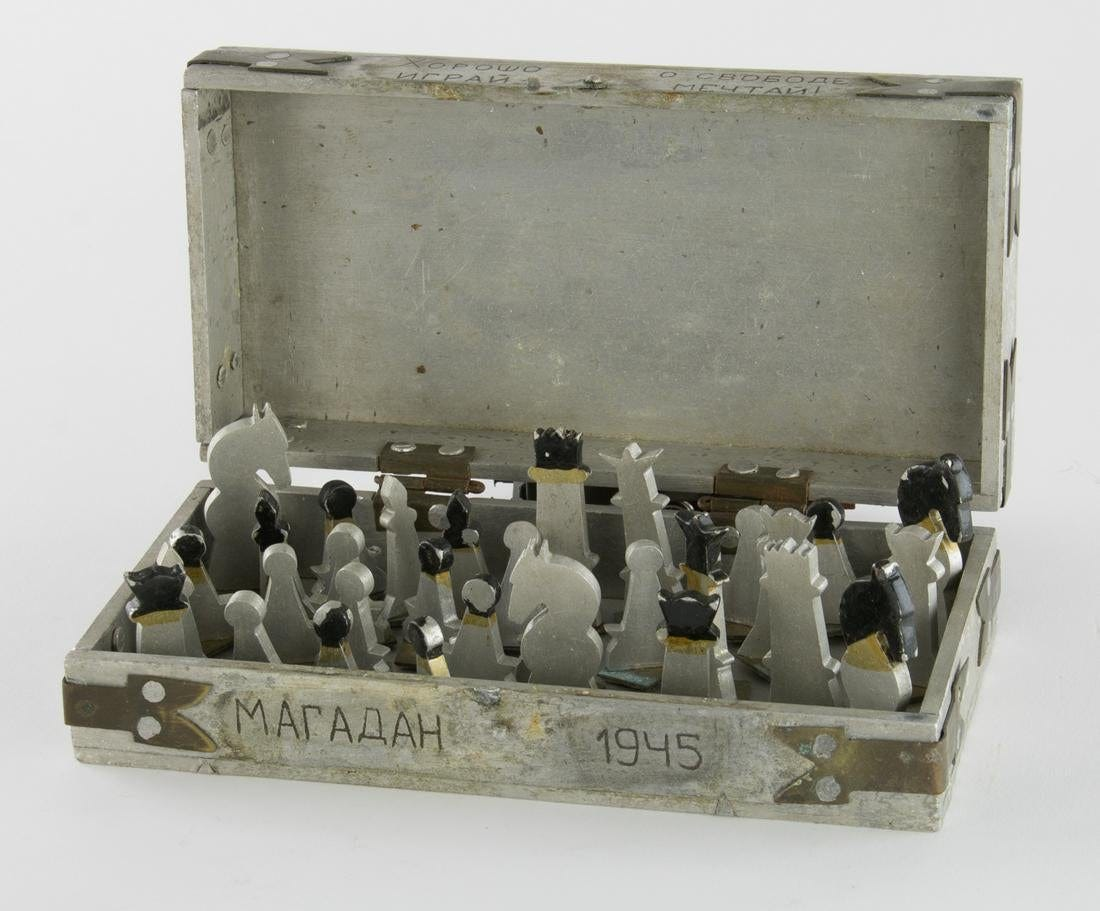 """Communist Terror on Twitter: """"We have just acquired this chess set made by  a prisoner in the Soviet Gulag. The box is marked """"Magadan"""" the entry point  to the notorious Kolyma camps."""