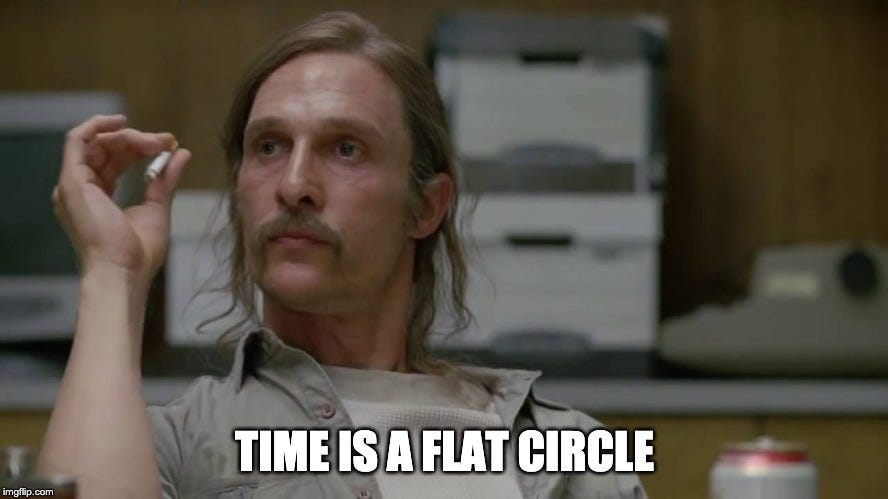 TIME IS A FLAT CIRCLE   made w/ Imgflip meme maker