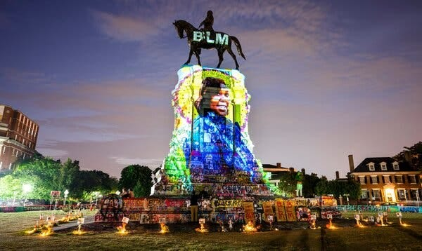 In July, in Richmond Va., a photograph of Breonna Taylor was projected onto a statue of the Confederate general Robert E. Lee.