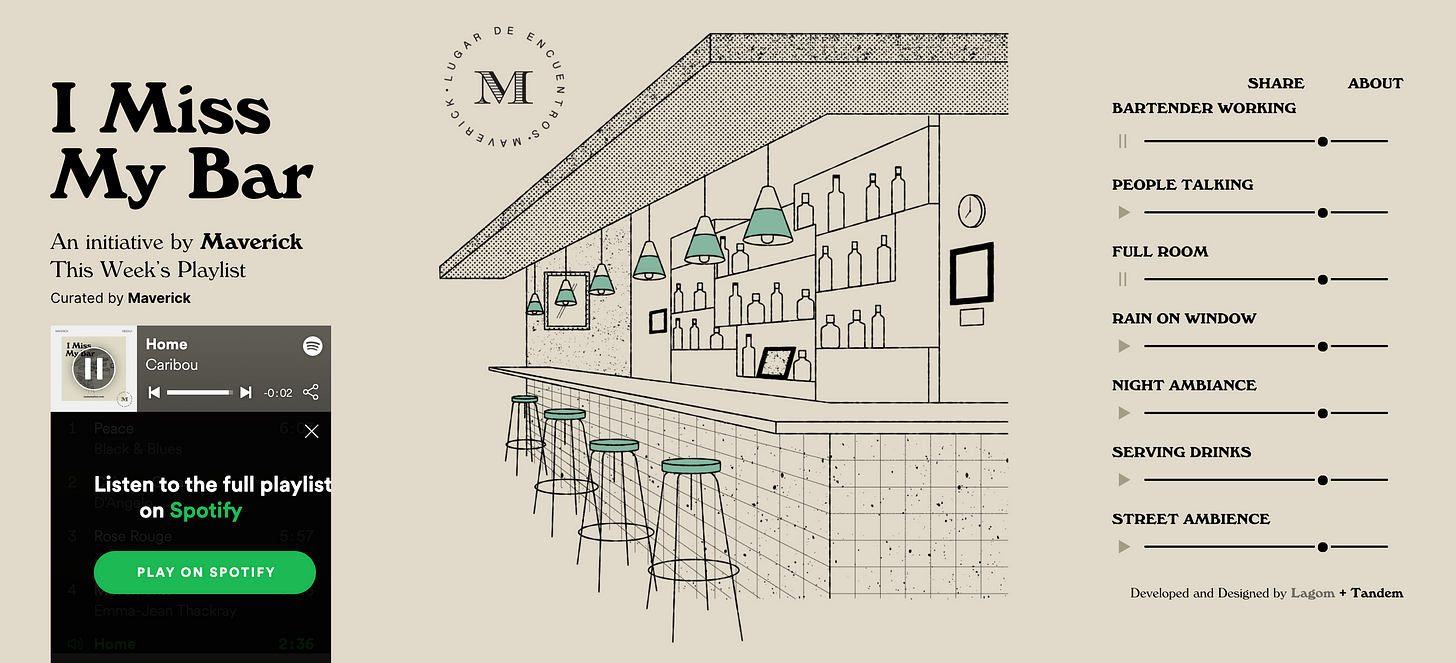 Image description: This is a beige colored web page with an illustration of a bar, with four stools. The page features 7 audio buttons to create your own bar atmosphere as well as a music playlist on the left side.