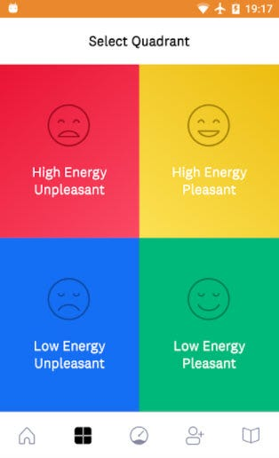 scree capture of the Mood Meter app showing four quadrants of moods.