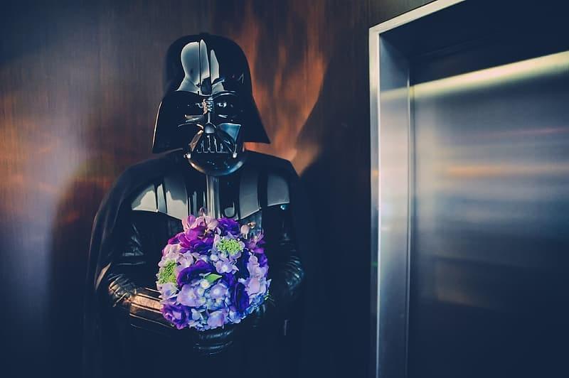 Darth Vader Holding a Purple Flower Bouquet