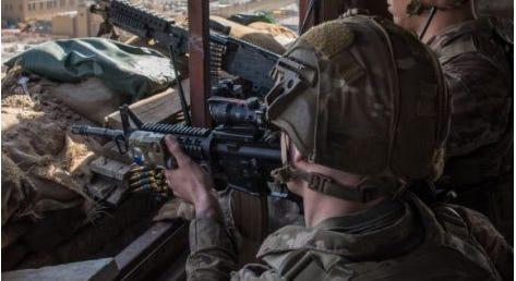 U.S. Marine on guard in Iraq, January, 2020