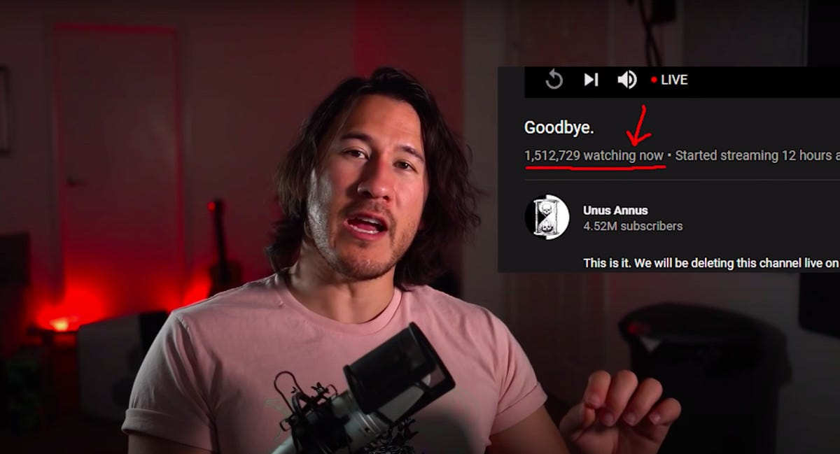 Gaming YouTuber Markiplier looks at the camera.