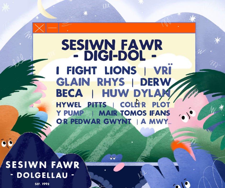 """May be an image of text that says """"SESIWN FAWR -DIGI-DOL I FIGHT LIONS VRĨ GLAIN RHYS I DERW BECA HUW DYLAN HYWEL PITTS COLLI'R PLOT Y PUMP MAIR TOMOS IFANS O'R PEDWAR GWYNT IA MWY SESIWN FAWR -DOLGELLAU- SEF.1992"""""""