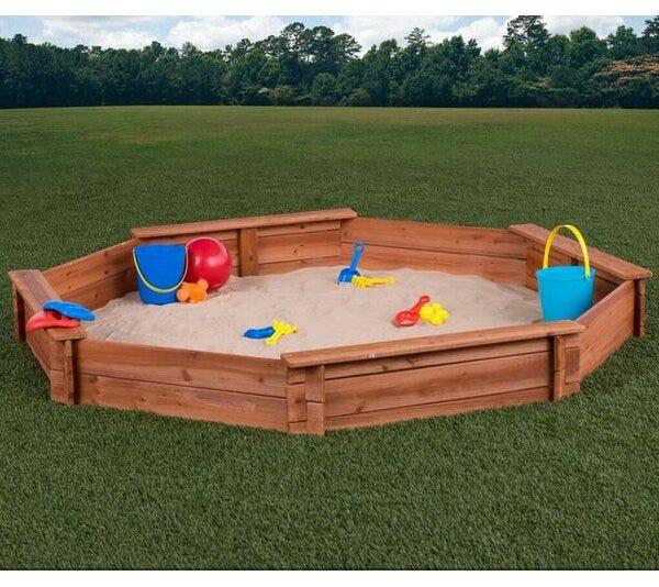 "CreativeCedarDesigns Creative Cedar Designs 78"" x 9"" Solid Wood Octagon  Sandbox with Cover & Reviews   Wayfair"