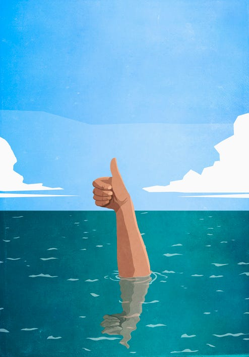 Illustration of a sinking arm in the ocean, giving the thumbs up