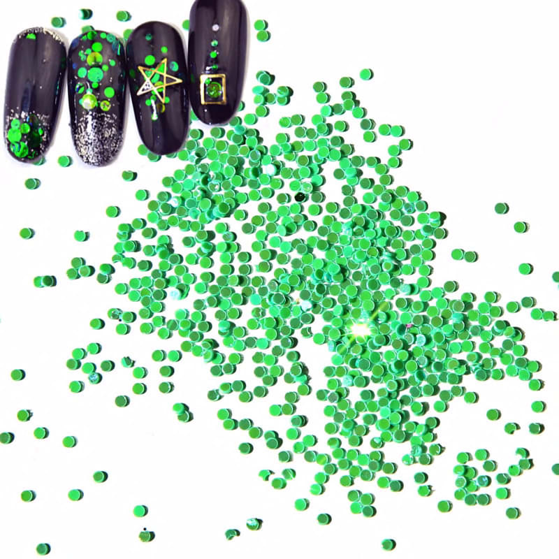 12pieces green  Laser  Flakes For Nail Art  Body Glitter Acrylic Powder Dust Nail Sequins Manicure Decoration