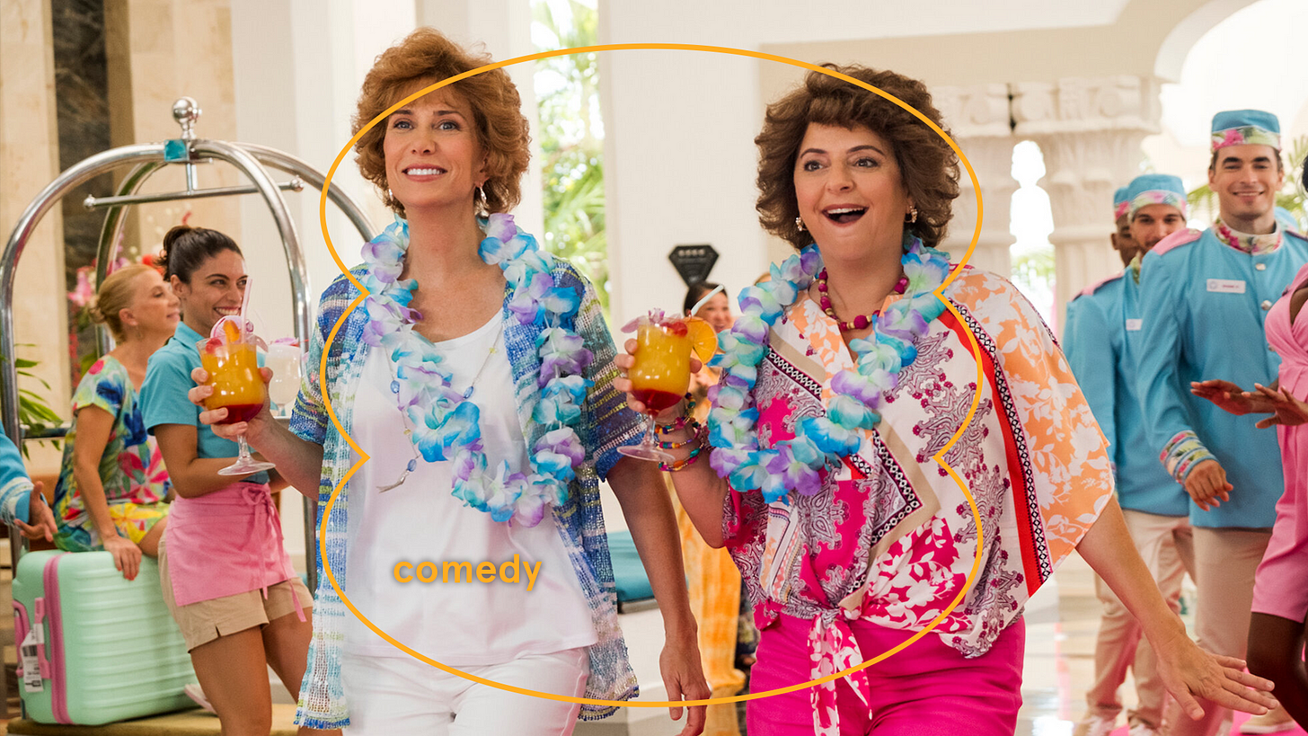 Kristen Wiig and Annie Mumulo in Barb and Star Go To Vista Del Mar. Courtesy of Hulu.
