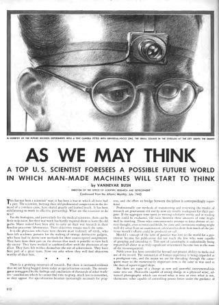 Tanks & Tablecloths Index: Tabletalk: Vannevar Bush's Memex