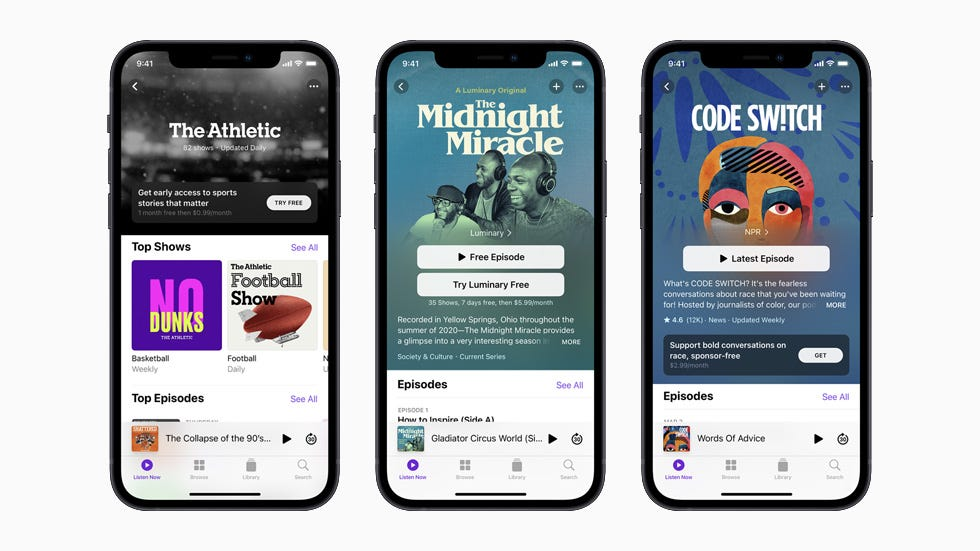 The Athletic, The Midnight Miracle, and Code Switch podcasts, each displayed on separate iPhone 12.