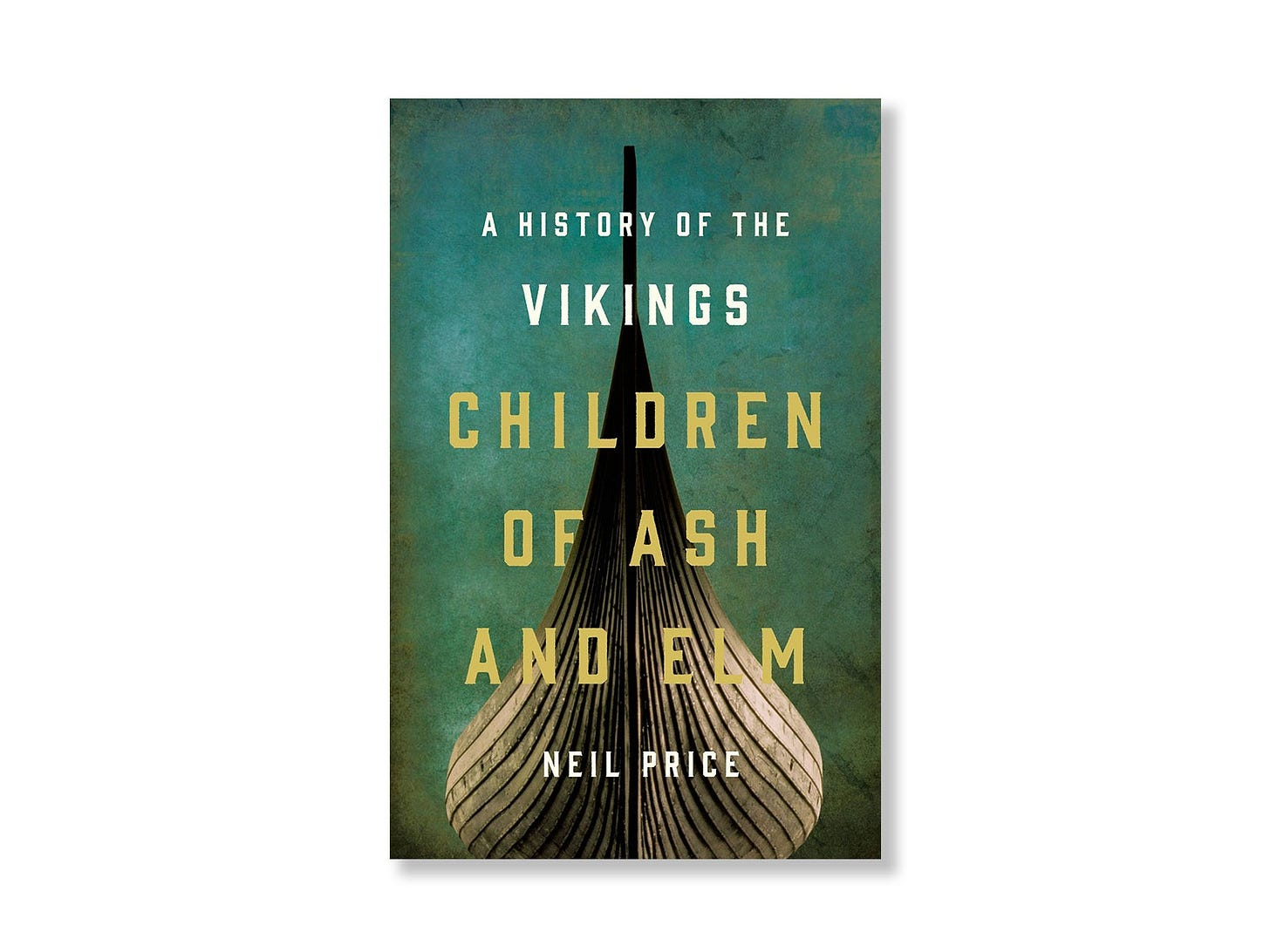 The dramatic front of a viking ship as seen from below on a book cover.