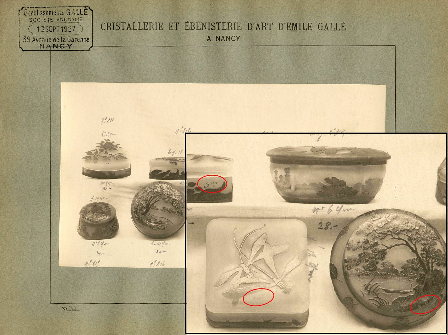 Gallé sales album from the Rakow library : close-up of the plate 27 showing the Mk IV signature on 3 candy boxes. ©Rakow LIbrary, Corning Museum of Glass.