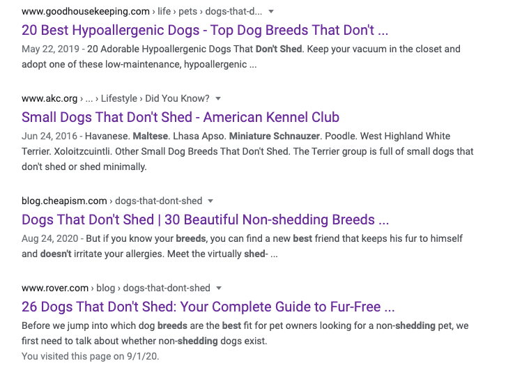 """Google search results for """"best puppies that don't shed"""": they are all very similar in wording"""