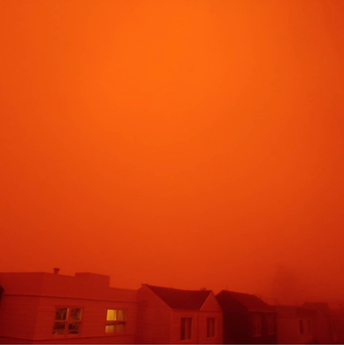 Red sky over San Francisco