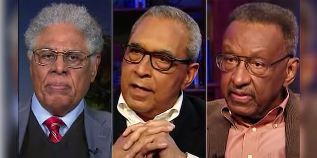 Thomas Sowell (eft), Shelby Steele (center) and Walter Williams