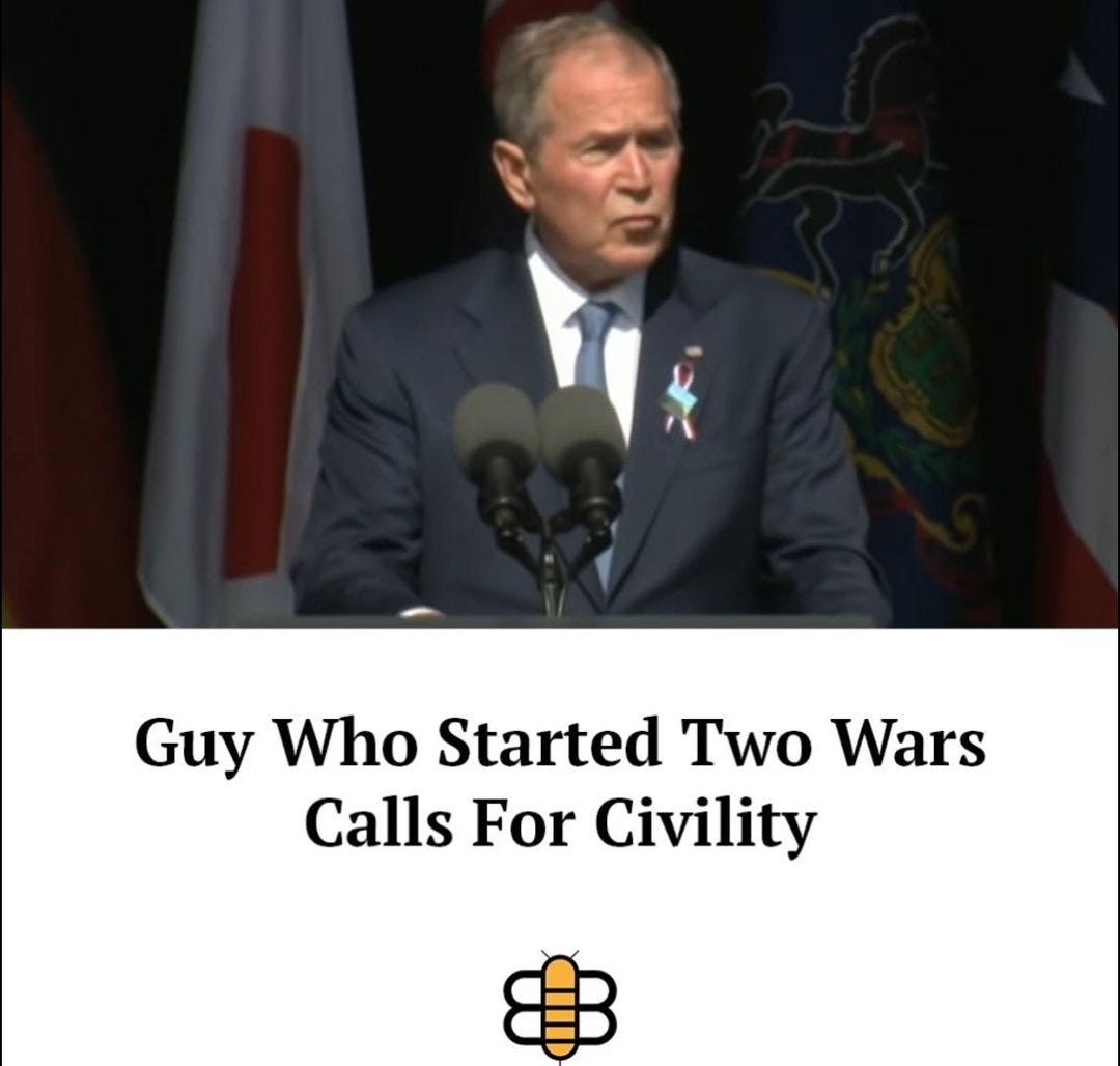 May be an image of 1 person and text that says 'Guy Who Started Two Wars Calls For Civility'