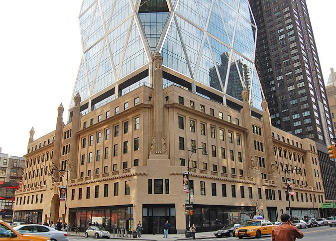An historic facade forms the base of the Hearst Tower. (Simon King ...