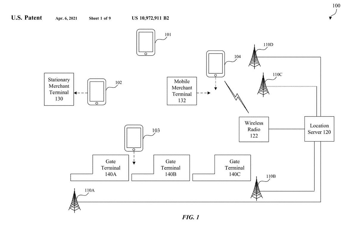 Patent diagram showing how Apple Pay could auto select a card based on user location